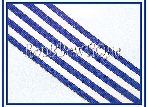 Royal Blue Monarch Stripe Ribbon 1 YARD