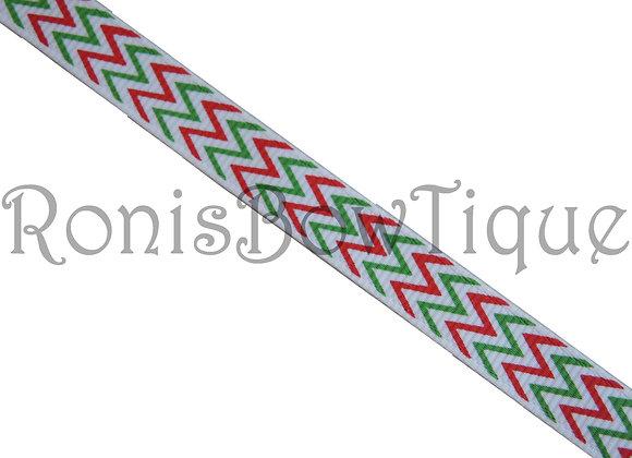 """3/8"""" RED WHITE GREEN CHEVRON ZIG ZAG PRINT"""