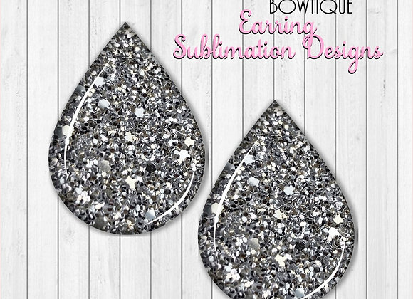 "BLACK AND WHITE 2"" Earring Sublimation Design Teardrop DownLOAD"