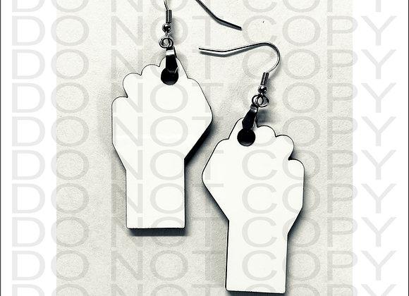 "2"" or 3"" EARRINGS BLACK LIVES MATTER HAND FIST SUBLIMATION BLANKS MDF"
