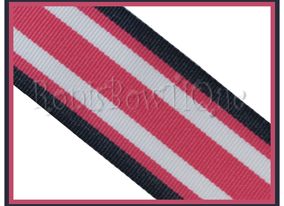 Navy Geranium Surfboard Stripe Ribbon - 1 YARD