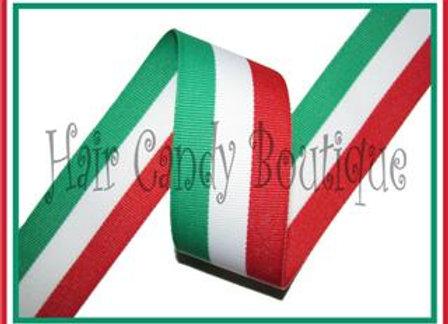 Red White Emerald Green Tri Stripe Ribbon