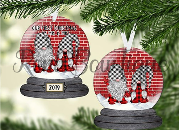 Red Brick Gnomes Personalized Christmas Ornament Gift