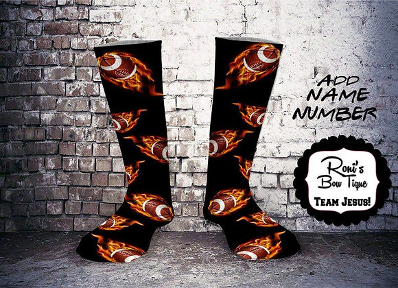 Fire flamed Football Printed Socks  -ADD YOUR TEAM NAME OR NUMBER
