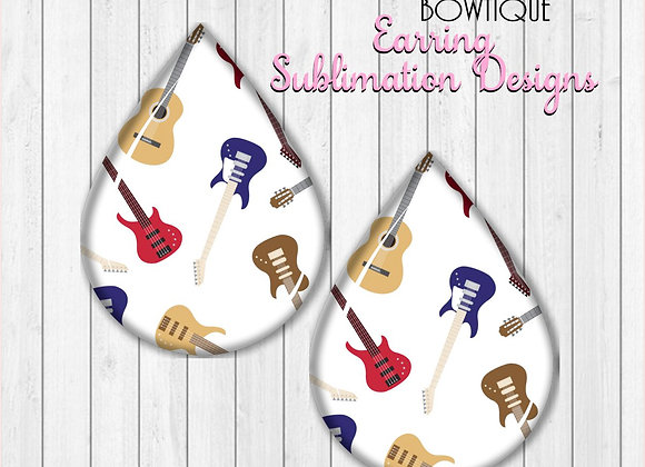 "GUITARS 2"" Earring Sublimation Design Teardrop digital Download"