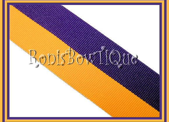 Purple Gold Bi Stripe Cheer Collegiate Ribbon