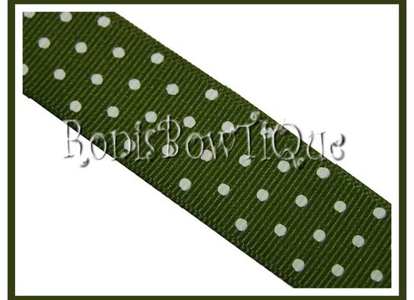 Olive Green with White Swiss Dots RIBBON