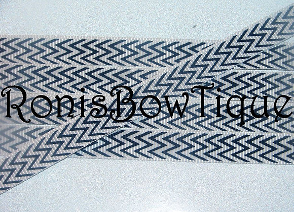 "3/8"" NAVY BLUE WHITE CHEVRON ZIG ZAG PRINT RIBBON"