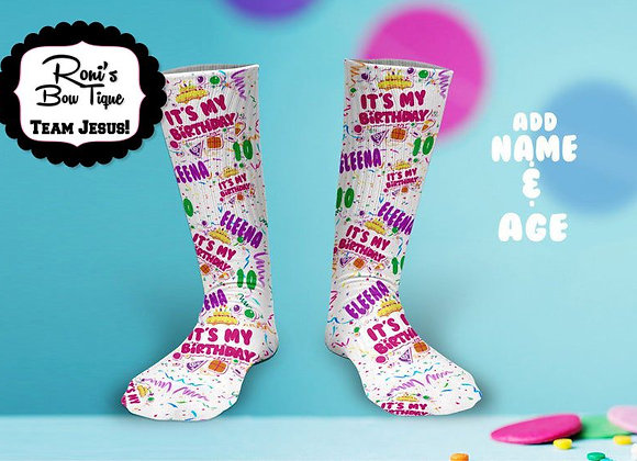 BIRTHDAY GIRLS NAME AND AGE Printed Socks PERFECT BIRTHDAY GIFT