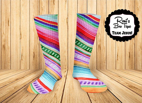 Funky Serape Stripe Colors of Mexico Printed Socks Fun Socks