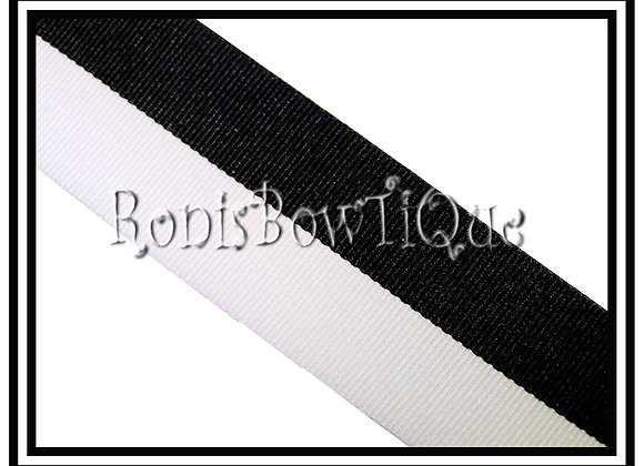 Black White Bi Stripe Cheer Collegiate Ribbon