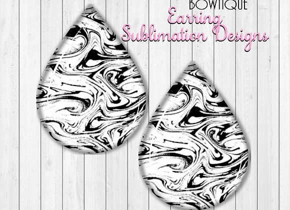 "Black and White Marble Swirl 2"" Earring Sublimation Design Teardrop PNG download"