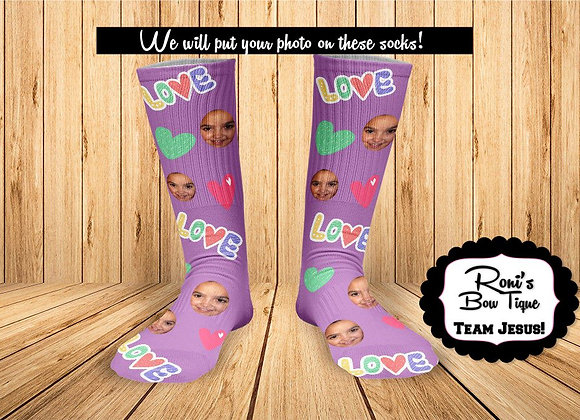 Purple Love Heart Sock Personalized Socks ADD your image Valentines Day Gift