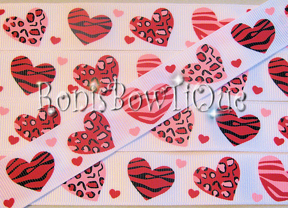 ZEBRA LEOPARD PRINT HEARTS ON LIGHT PINK