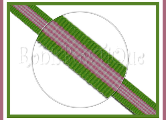 """3/8"""" Pink Hawaiian Twist Stripe Ribbon - 1 YARD"""