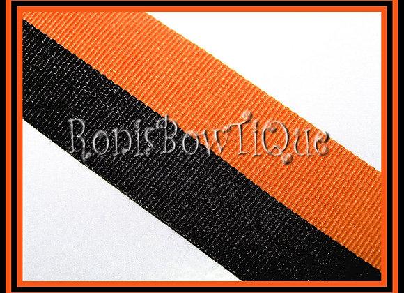 Orange Black Bi Stripe Cheer Collegiate Ribbon
