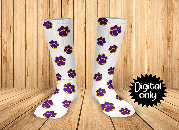 Purple Gold Tigers Paw Printed Socks Can Change Sock Background Color & Add Name