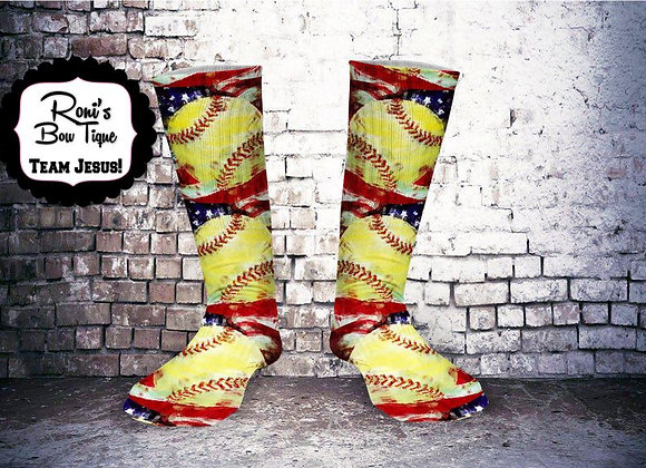 Vintage Softball Printed Socks American Flag Great Team Gifts