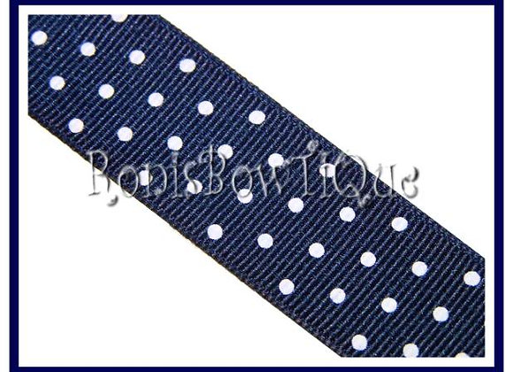 Navy Blue with White Swiss Dots RIBBON
