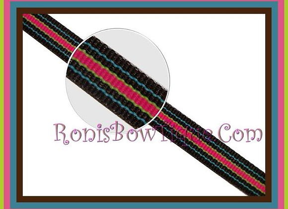 "3/8"" Bermuda Hot Stripe Ribbon - 1 YARD"