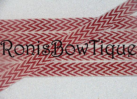 """3/8"""" RED WHITE CHEVRON ZIG ZAG PRINT"""