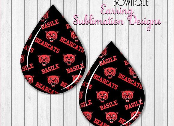"BASILE BEARCATS 2"" Earring Sublimation Design Teardrop digital Download"