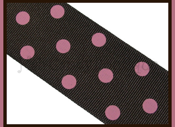 Brown with Pink Polka Dots RIBBON