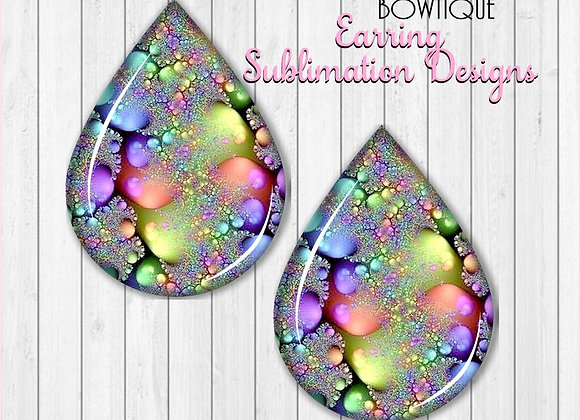 "NEON COLORFUL GEODE 2"" Earring Sublimation Design Teardrop Download PNG"