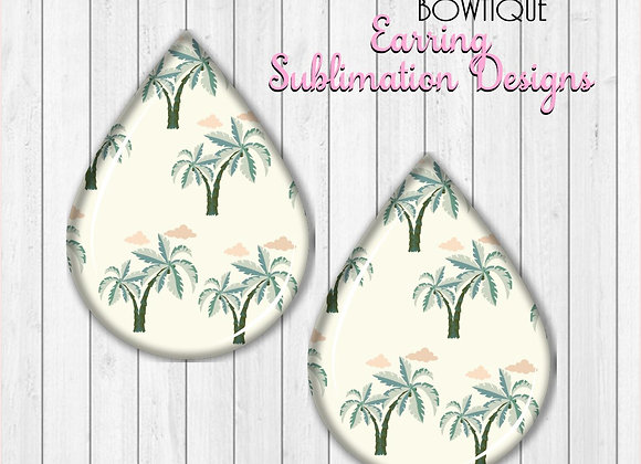 "PALM TREES 2"" Earring Sublimation Design Teardrop digital Download"