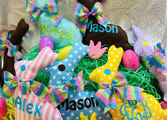 Personalized Stuffed Chocolate Rabbit Monogrammed Initials or Name
