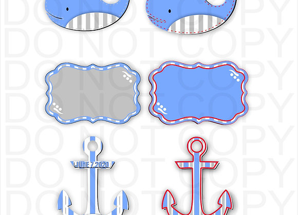WHALE ANCHOR BENELUX DIGITAL DESIGNS NURSERY HOSPITAL DOOR HANGER