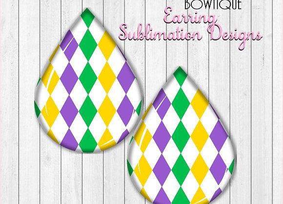 "MARDI GRAS Diamond Print Earring Sublimation Design Teardrop digital Download 2"""