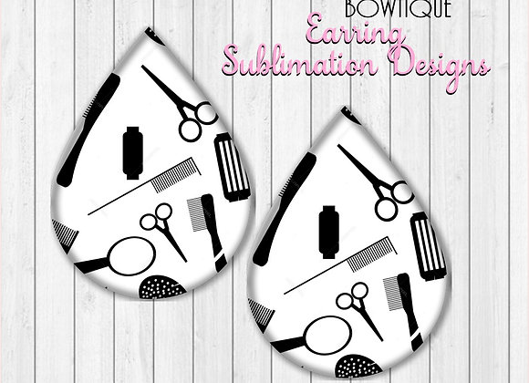 "HAIR STYLIST HAIR DRESSER  2"" Earring Sublimation Design Teardrop Download"