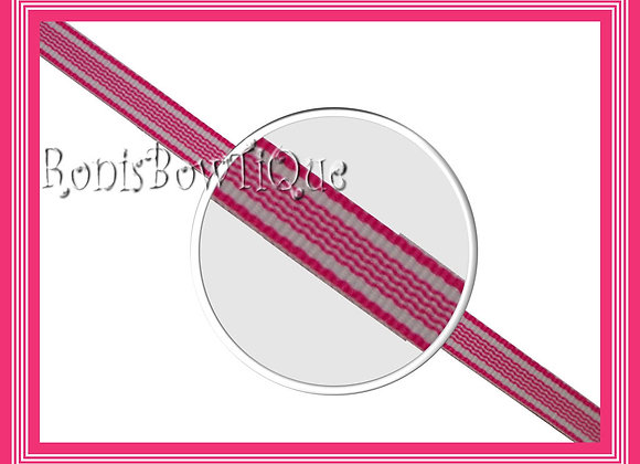 "3/8"" Hot Pink Waves Stripe Ribbon - 1 YARD"