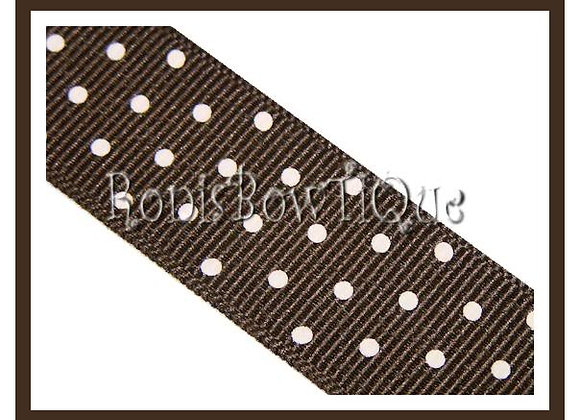Brown with White Swiss Dots RIBBON