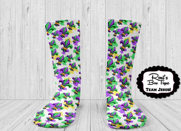 MARDI GRAS PURPLE GREEN GOLD Fleur De Lis Party Printed Socks Fun S
