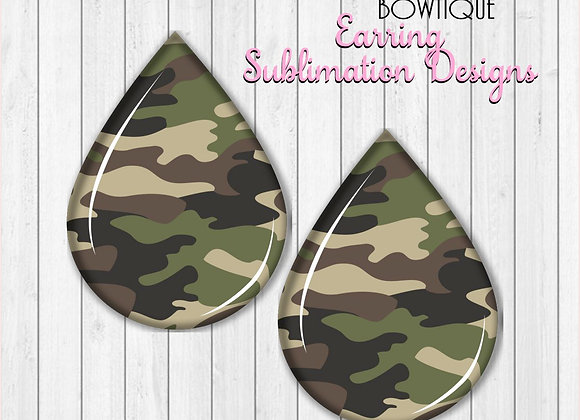 "ARMY CAMO CAMOUFLAGE  2"" Earring Sublimation Design Teardrop Digital Download"
