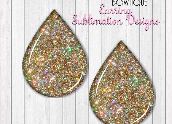"GOLD GLITTER 2"" Earring Sublimation Design Teardrop Down"