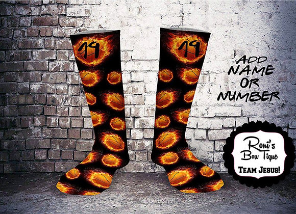 Fire flamed Basketball Printed Sock- Add  your Team Number