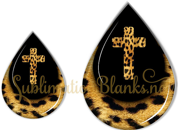 CROSS LEOPARD Print BLACK Sublimation Designs Teardrop Digital Designs