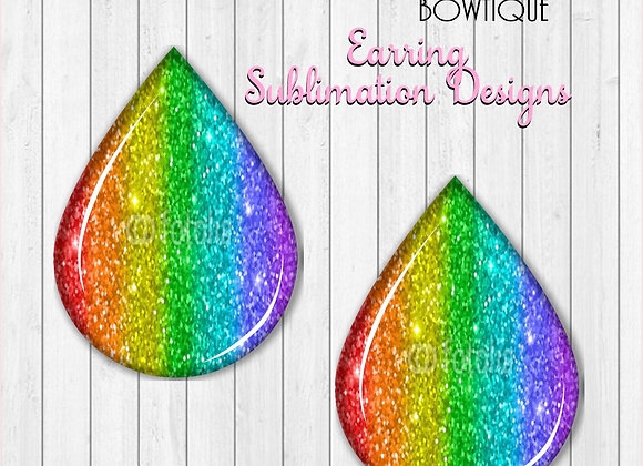 "RAINBOW GLITTER 2"" Earring Sublimation Design TearDROP Digital download"