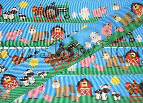 "1.5"" ON THE FARM BARN YARD ANIMALS RIBBON"