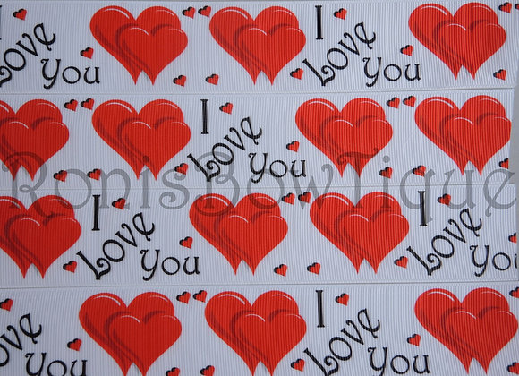 """1.5"""" RED WHITE HEARTS I LOVE  YOU RIBBON"""