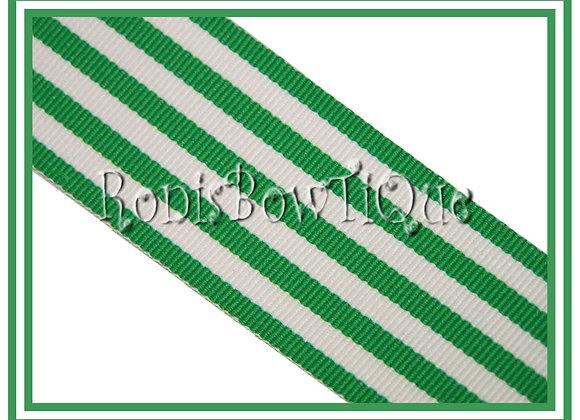 Emerald Green Monarch Stripe Ribbon 1 YARD