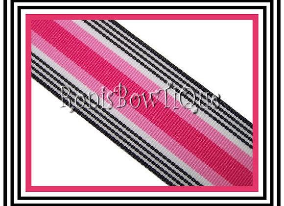 Pink Black Licorice Stripe Ribbon