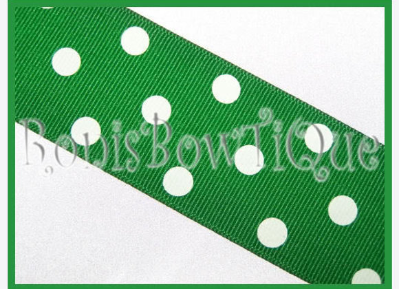 Emerald Green with White Polka Dots RIBBON