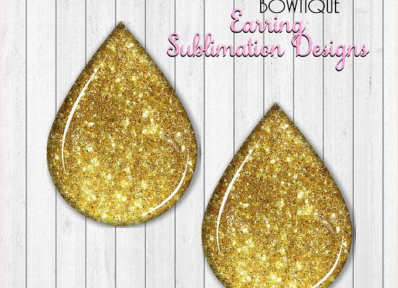 """GOLD GLITTER 2"""" Earring Sublimation Design TearDROP Digital Download png"""