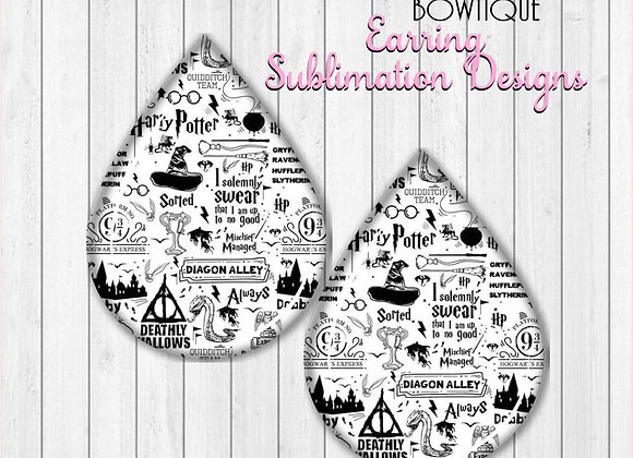 "Harry Potter 2"" Earring Sublimation Design Teardrop digital Download"