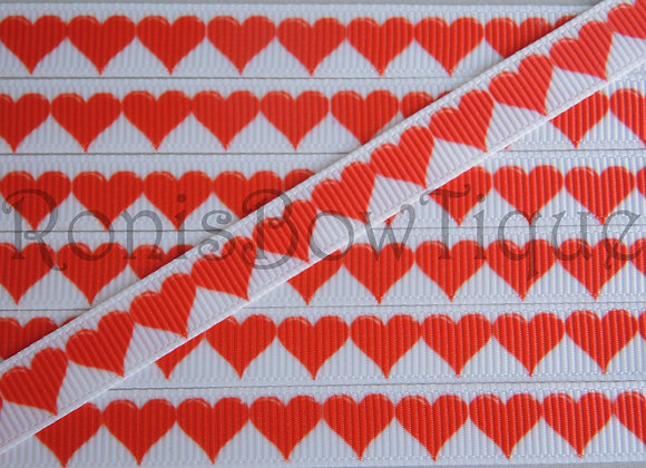 "3/8"" RED WHITE HEARTS RIBBON"