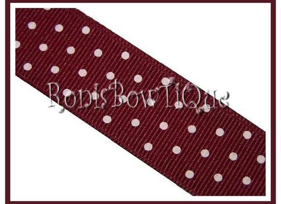 Maroon with White Swiss Dots RIBBON